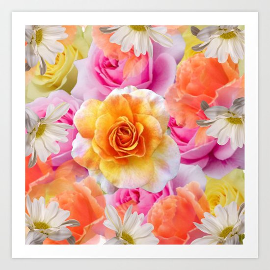 Spring Flowers Galore Absstract Art Print