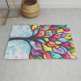 Watercolor Mosaic Tree Rug