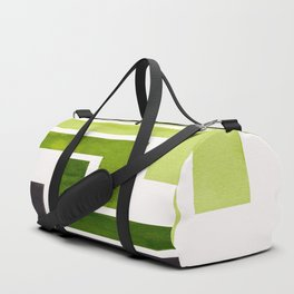 Sap Green Pattern Mid-century Modern Simple Geometric Pattern Watercolor Minimalist Art Squares Duffle Bag