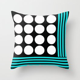 Desing pattern black and white followed by Tuerkies Throw Pillow