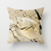 guardians Throw Pillows featuring Temple Guardians by Brian Raggatt