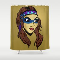 native Shower Curtains featuring Native by Joe Baron