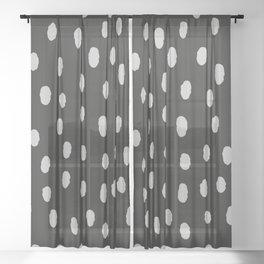 Black & White Minimal Spots Sheer Curtain