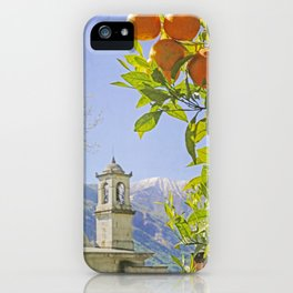 Oranges, Blue Sky, and Mountains in Northern Italy iPhone Case