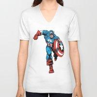 avenger V-neck T-shirts featuring Avenger: Cap' by Popp Art