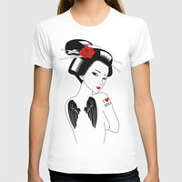 angel wings T-shirts featuring Geisha with Angel Wings by Neo X Kyo