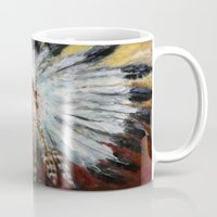 native american Mugs featuring Native American by Mary J. Welty