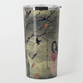 Girl on a swing in the woods Travel Mug
