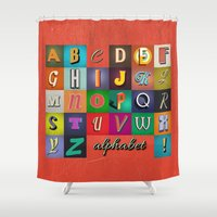 alphabet Shower Curtains featuring Alphabet by rob art | simple