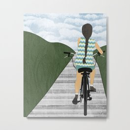 Cyclist From Behind Metal Print