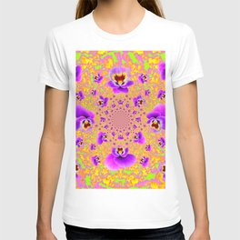 PURPLE-LIME MODERN ART PURPLE-GOLDEN PANSIES T-shirt