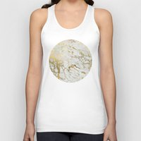white marble Tank Tops featuring Gold marble by Marta Olga Klara