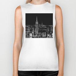 Contemporary Elegant Silver City Skyline Design Biker Tank