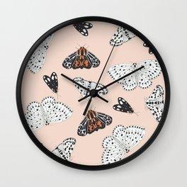 Muted Moth Pattern Wall Clock