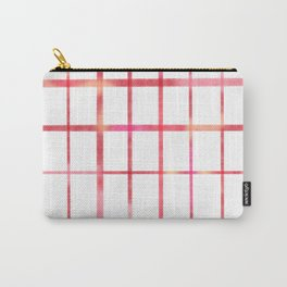 Minimalist grid in pink and red Carry-All Pouch