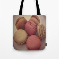 macaroon Tote Bags featuring macaroon by  Alexia Miles photography
