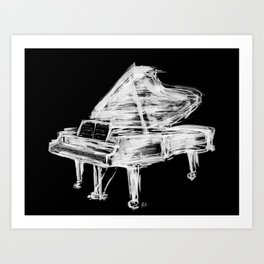 Black Piano Art Print