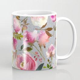 Gray blush pink coral yellow hand painted floral Coffee Mug