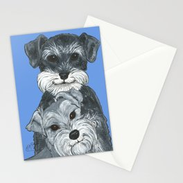 Dogs- Schnauzers - Dogs By Nina Lyman Stationery Cards