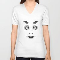 creepy V-neck T-shirts featuring creepy by karens designs