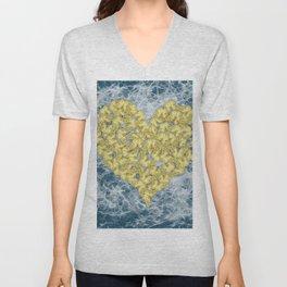 Gold butterflies in heart shape on teal web Unisex V-Neck