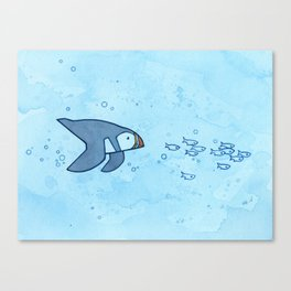 Swimming puffin and fish Canvas Print