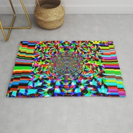 Pot leaves and pixel color drop Rug