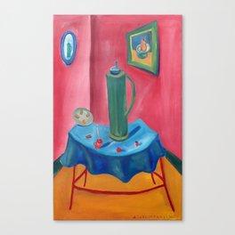 green thermos Canvas Print