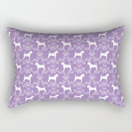 Chihuahua silhouette purple and white florals flower pattern art pattern dog breed Rectangular Pillow