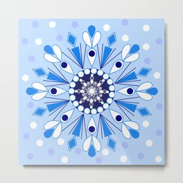 The Blue Snowflake Metal Print
