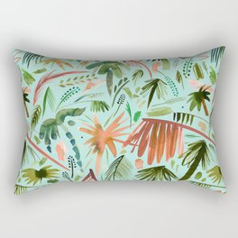 Brushstroke palms Green orange Rectangular Pillow