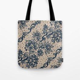 Vintage Lace Color Burn Out Print Tote Bag