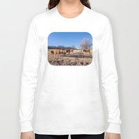 cows Long Sleeve T-shirts featuring Border Cows by Beau Bright