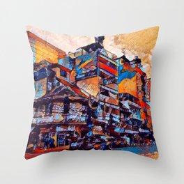 Corner shop stacks Throw Pillow