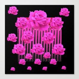MODERN BLACK ART CERISE PINK ROSE GARDEN Canvas Print