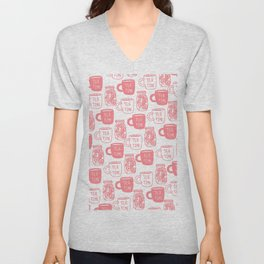 Abstract coral white tea cups modern typography Unisex V-Neck
