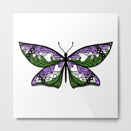 Fly With Pride: Genderqueer Flag Butterfly Metal Print