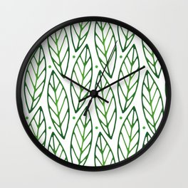 LEAVES PATTERN - GREEN & WHITE Wall Clock