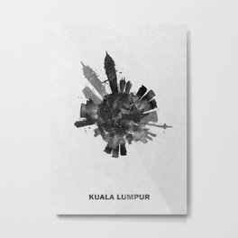 Kuala Lumpur, Malaysia Black and White Skyround / Skyline Watercolor Painting Metal Print