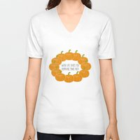 pie V-neck T-shirts featuring Pumpkin Pie by Laura Maria Designs