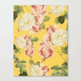 Flora temptation - sunny mustard Canvas Print