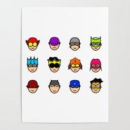 Teen Superhero Faces Poster