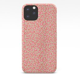 Leopard Print | Living Coral Pink with Tan Background | girly pastel | Cheetah iPhone Case