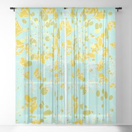 Vintage Geometric pattern pale blue and light yellow Sheer Curtain