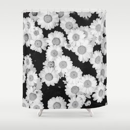 The Daisy Garden (Black and White) Shower Curtain