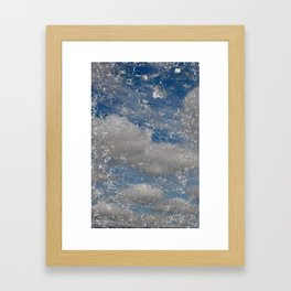 cracked cell phone with sky Framed Art Print