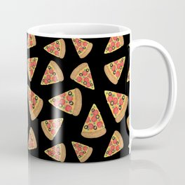 Pizza Party Black Pattern Coffee Mug