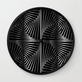 Rotating silver squares Wall Clock