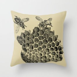 Vintage Bee & Honeycomb Throw Pillow