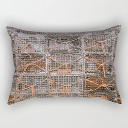 Lobster Pot Orange Rope Color Isolation New England Fishing Atlantic Coast  Rectangular Pillow